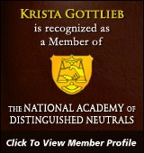 Krista Gottlieb, National Academy of Distinguished Neutrals Member Profile
